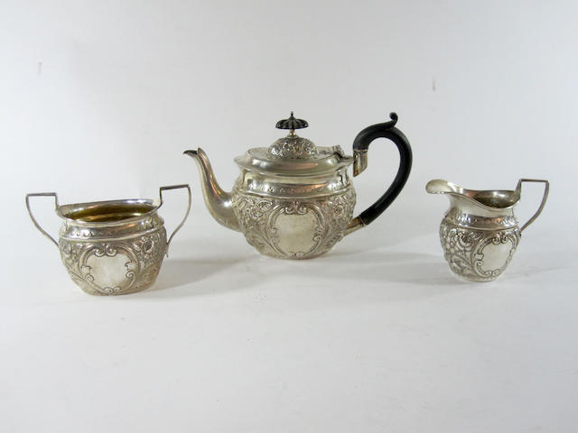 A late Victorian batchelor's three piece tea service makers mark of F.W, Chester 1895