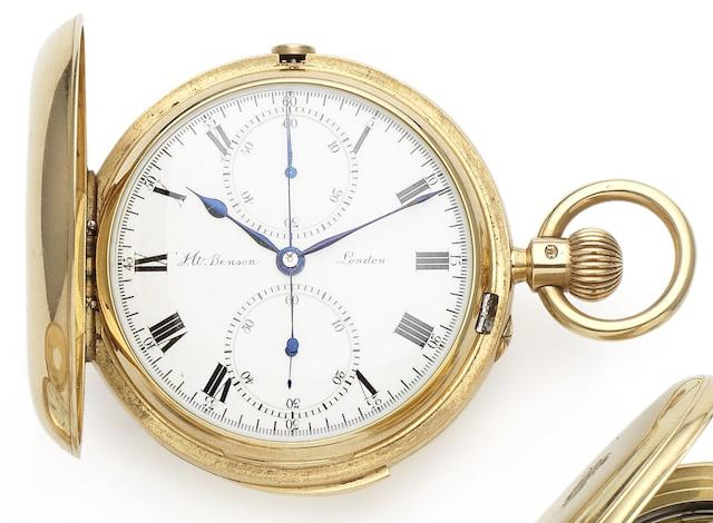 J.W. Benson. A fine 18ct gold minute repeating full hunter chronograph pocket watch London Hallmark for 1902