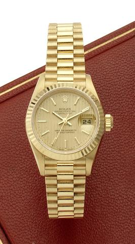 Rolex. A lady's 18ct gold automatic calendar bracelet watch Ref:69178, Case No. W652595, Circa 1990