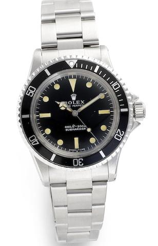 Rolex. A stainless steel automatic bracelet watch Submariner, Ref:5513, Serial No. 2657116, 1970's