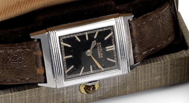 Uniplan. A stainless steel reversible wristwatch with fitted boxReverso, Circa 1932