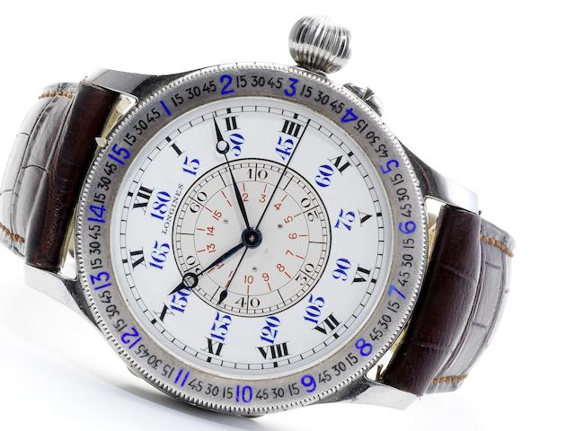 Longines. A fine and rare oversized stainless steel hour angle Aviator's wristwatch with indirect sweep centre seconds Lindbergh model, Movement No.5575389, Case No. 20770/19, Circa 1935  (strap for illustration purposes only)
