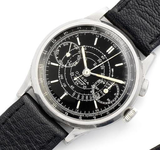 Omega. A stainless steel manual wind single button chronograph wristwatchCirca 1940