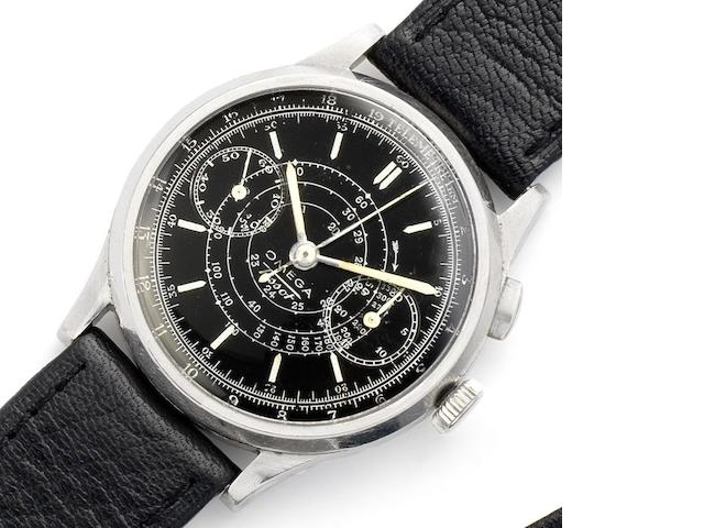 Omega. A stainless steel manual wind single button chronograph wristwatch Circa 1940