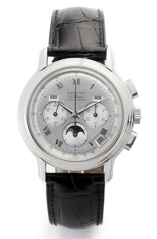Zenith. A stainless steel automatic triple calendar chronograph wristwatchEl Primero Chronomaster, Recent