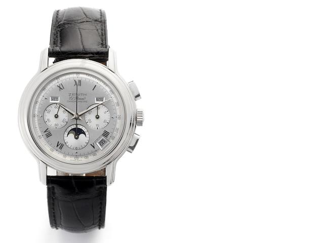Zenith. A stainless steel automatic triple calendar chronograph wristwatch El Primero Chronomaster, Recent