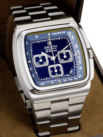 Zenith. A stainless steel automatic calendar chronograph bracelet watch together with fitted Zenith boxEl Primero Blue Surf, Circa 1970