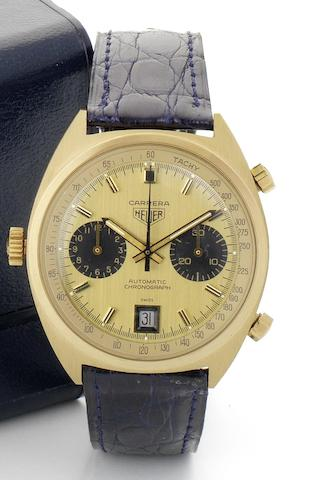 Heuer. A fine and rare 18ct gold chronograph calendar automatic wristwatchRef:1158, Serial No.249360, Circa 1974