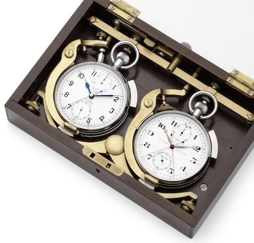 A fine pair early 20th century stainless steel open face split seconds stop watches in a custom made timing boxCirca 1910