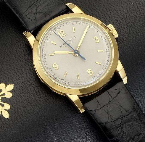 Patek Philippe. A fine and rare 18ct gold manual wind centre seconds wristwatch together with original Patek Philippe fitted boxCalatrava, Ref:2466J, Case No. 668106, Movement No.701623, Made 1951