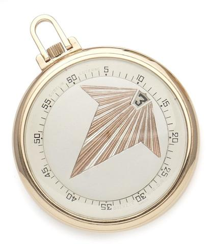 E. Gubelin. A fine and rare 18ct pink gold open face jump hour pocket watch with leaf design on the dial Circa 1930