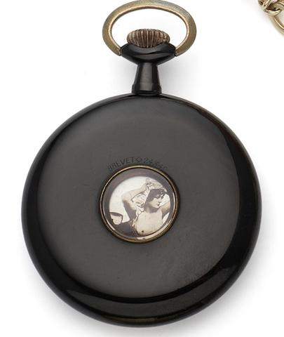 Arnold Schweizer-Schatzmann. A Gunmetal keyless pocket watch with passing erotic automata 'Revolving Beauties,' Circa 1910
