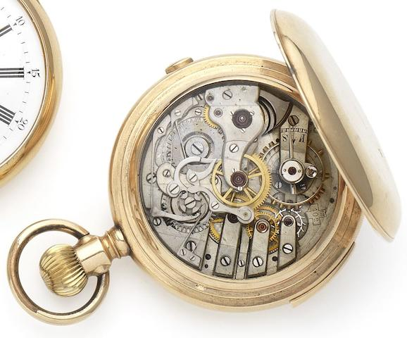 Bernard Reber. A late 19th century 14ct gold full hunter quarter repeating chronograph pocket watch Numbered 5375, Circa 1890