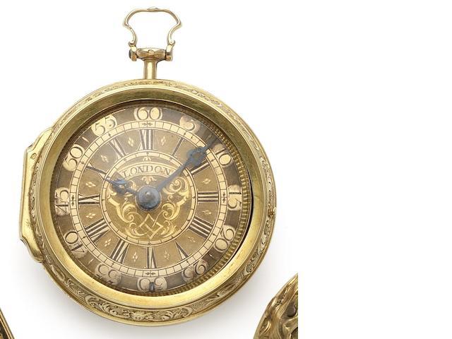 Lekceh. An early 18th century 22ct gold  repoussé pair case pocket watch Circa 1720