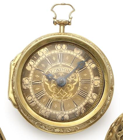 Lekceh. An early 18th century 22ct gold  repoussé pair case pocket watch Circa 1720