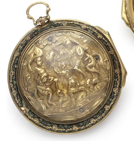 Wm. Rivers. A fine late 18th century 22ct gold repoussé  and shagreen triple pair case pocket watch London Hallmark for 1776