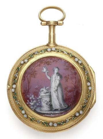 Vauchez. An early 19th century gold and enamel open face pocket watch Paris, Circa 1810