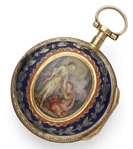 Bordier. An late 18th century continental gold and enamel quarter repeating pocket watchCirca 1795