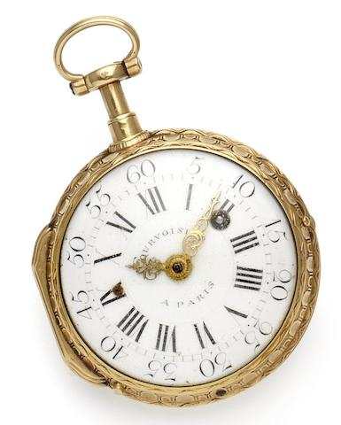 Courvoisier. An early 19th century 18ct gold quarter repeating verge pocket watchNumbered 614, Circa 1820