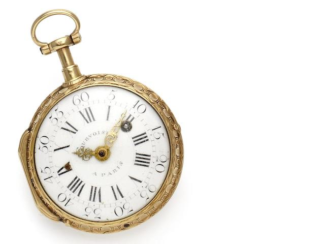 Courvoisier. An early 19th century fine 22ct gold quarter repeating verge pocket watch Numbered 614, Circa 1820