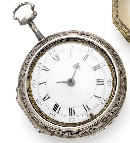 William Kipling. An early 18th century silver pair case quarter repeating pocket watchCirca 1720