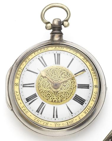 A mid 19th century silver pair case pocket watch with engraved dial Birmingham Hallmark for 1843