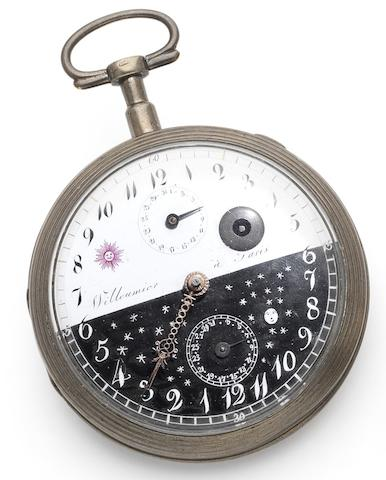Willeumier. An early 19th century silver open face calendar pocket watch with night and day dial Numbered 9770, Circa 1825