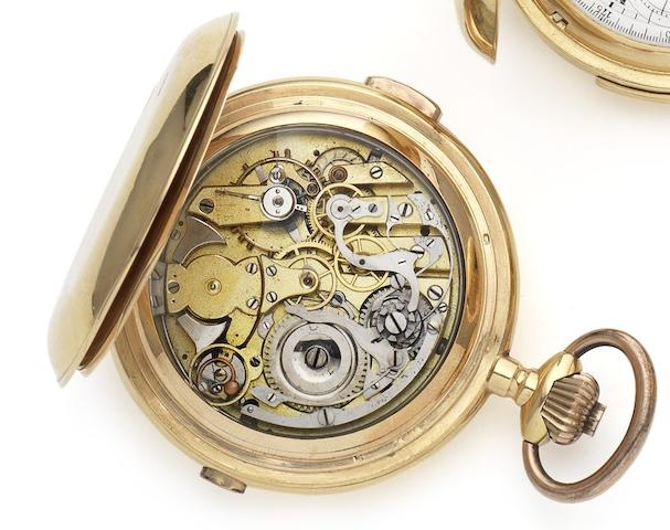 Swiss. A late 19th century 18ct gold quarter repeating chronograph pocket watchCirca 1890