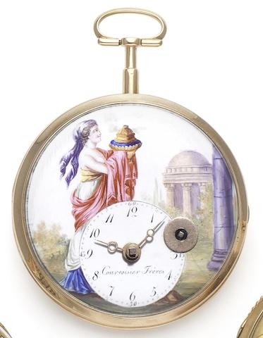 Courvoisier Freres. An early 19th century open face pocket watch with painted dial Numbered 5373, Circa 1805
