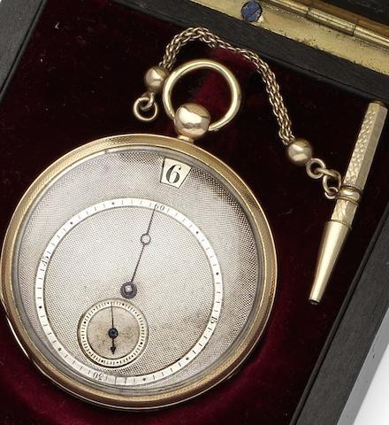 Bautte & Moynier. An early 19th century jump hour open face pocket watch Geneva, No. 39797, Circa 1830