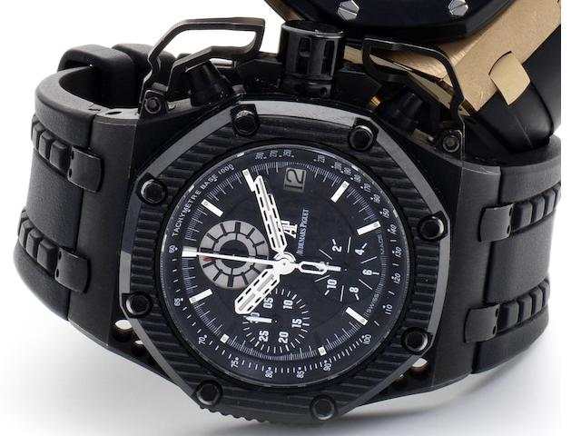 Audemars Piguet. A titanium and ceramic automatic calendar chronograph wristwatch Royal Oak Offshore Survivor, Ref:G46149, Recent
