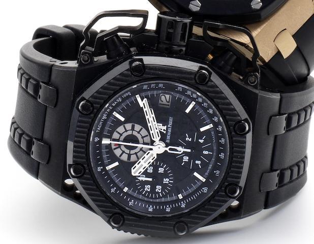Audemars Piguet. A titanium and ceramic automatic calendar chronograph wristwatch Royal Oak Offshore Survivor, Ref:G46149, Recent