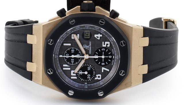 Audemars Piguet. An 18ct rose gold automatic calendar chronograph wristwatchRoyal Oak Offshore, Ref:25940OK.OO.D002CA.01.A, No.4323, Case No.G41017, Movement No.673868, Recent