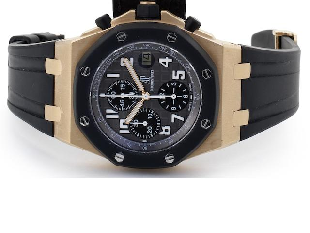 Audemars Piguet. A rose gold automatic calendar chronograph wristwatch Royal Oak Offshore, Ref:25940OK.OO.D002CA.01.A, No.4323, Case No.G41017, Movement No.673868, Recent