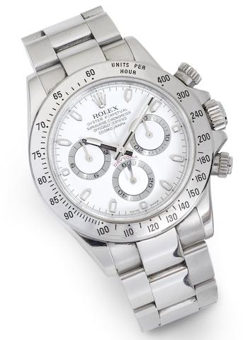 Rolex. A stainless steel automatic calendar bracelet watch Cosmograph Daytona, Ref:116520, Serial No.D545058, Circa 2006