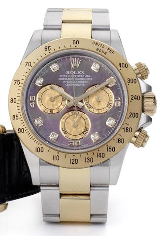 Rolex. A steel and gold chronograph bracelet watch with mother of pearl dialDaytona, Ref: 116523, Case No. V290940, 2008