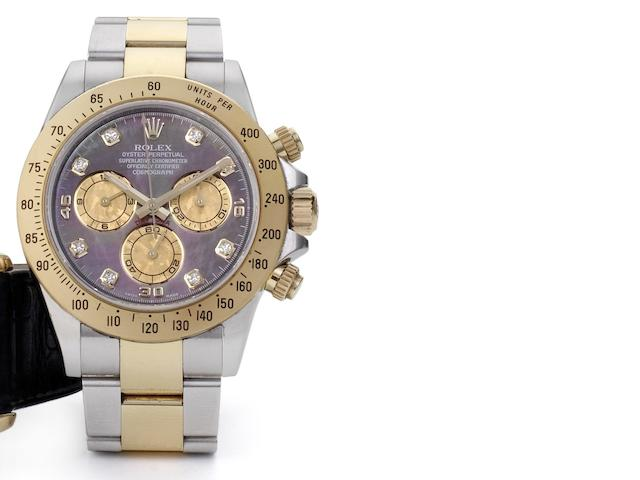 Rolex. A steel and gold chronograph bracelet watch with mother of pearl dial Daytona, Ref: 116523, Case No. V290940, 2008