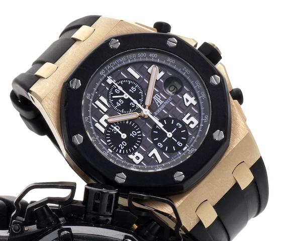 Audemars Piguet. A rose gold automatic calendar chronograph wristwatchRoyal Oak Offshore, Ref:25940OK.OO.D002CA.01.A, No.4526, Case No.G42300, Movement No.707258, Recent