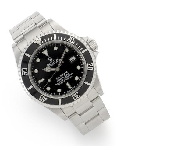Rolex. A stainless steel automatic calendar bracelet watch together with fitted box and outer card Sea Dweller, Ref:16600, Serial No. D850521, Sold May 24th 2006