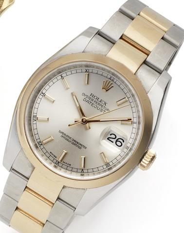Rolex. A stainless steel and rose gold automatic calendar bracelet watchDatejust Ref:116201, Case No.Z066628, Circa 2006