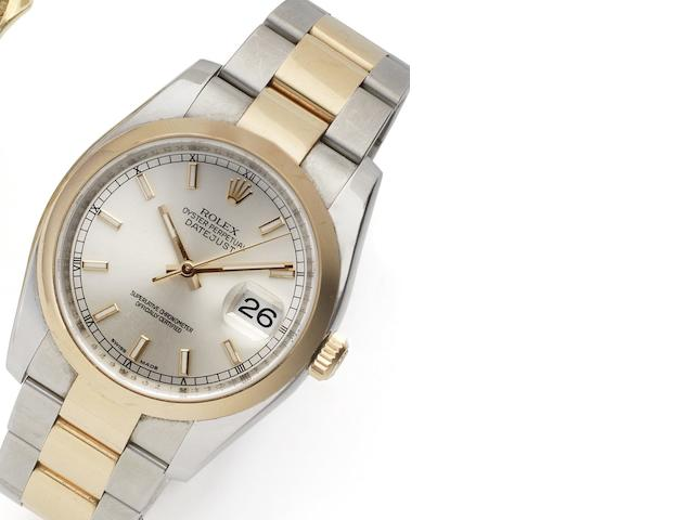 Rolex. A stainless steel and rose gold automatic calendar bracelet watch Datejust Ref:116201, Case No.Z066628, Circa 2006