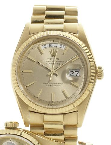 Rolex. An 18ct gold calendar bracelet watch Day-Date, Ref:1803, Case No.2092784, Circa 1967