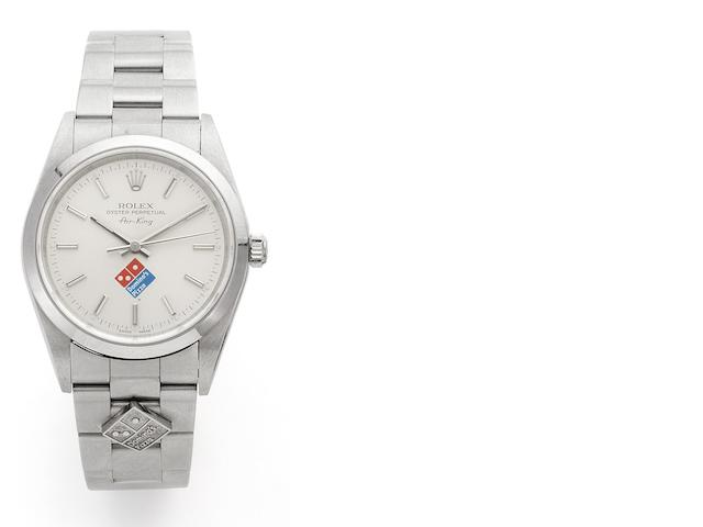 Rolex. A stainless steel automatic centre seconds bracelet watch with special order 'Domino's Pizza' logo and together with warranty papers stamped for Domino's PizzaAir King, Ref:2140, Case No.F065873, Movement No.9892821, 1987