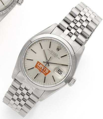 Rolex. A stainless steel automatic calendar bracelet watch with special order Levi's dial Rolex Date, Ref:1500, Case No.6417302, Movement No.D883995, Circa 1980