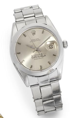 Rolex. A stainless steel manual wind calendar bracelet watch with Arabic scriptureOysterdate, Ref:6694, Serial No.1434398, Circa 1960