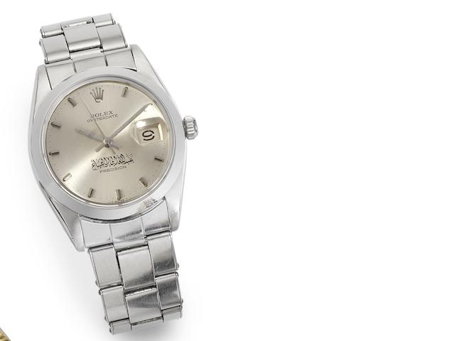Rolex. A stainless steel manual wind calendar bracelet watch with Arabic scripture Oysterdate, Ref:6694, Serial No.1434398, Circa 1960