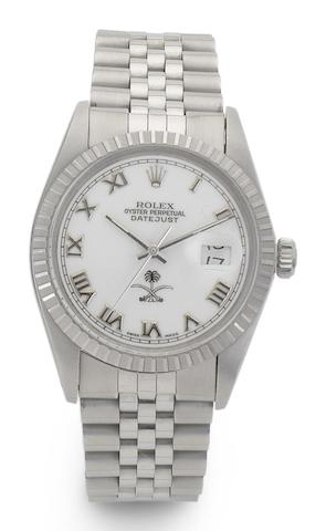 Rolex. A stainless steel automatic calendar bracelet watch with Saudi Arabian dialDatejust, Ref:16030, Case No.8787372, Circa 1984