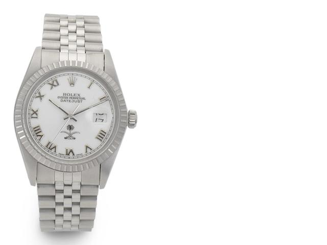 Rolex. A stainless steel automatic calendar bracelet watch with Saudi Arabian dial Datejust, Ref:16030, Case No.8787372, Circa 1984