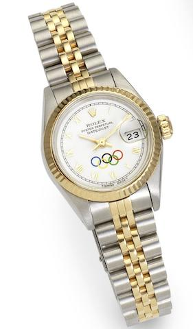 Rolex. A lady's steel and gold automatic calendar bracelet watch with special order Olympic Games dialDatejust, Ref:69713, Case No.8176925, Circa 1984