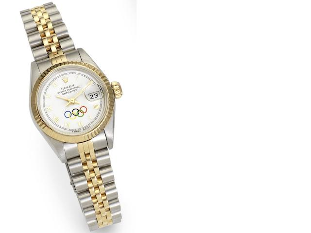 Rolex. A lady's steel and gold automatic calendar bracelet watch with special order Olympic Games dial Datejust, Ref:69713, Case No.8176925, Circa 1984